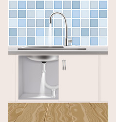 Leaking water pipe plumbing accident vector