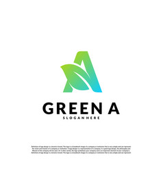 letter a with leaf logo template green initial a vector image