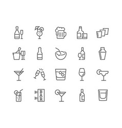 Line alcohol icons vector