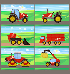 Loader and tractor agriculture vector