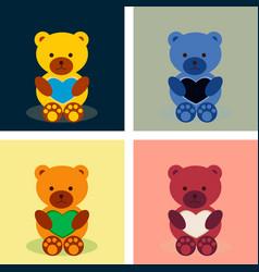 Lovely teddy bear with heart vector