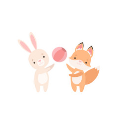 lovely white little bunny and fox cub playing with vector image