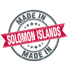 Made in solomon islands red round vintage stamp vector
