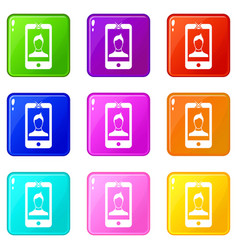 Mobile phone with photo icons 9 set vector