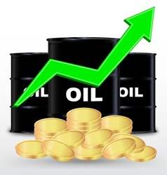 Oil Barrels And Stack Of Gold Coin Price Up vector