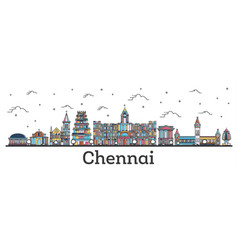 outline chennai india city skyline with color vector image
