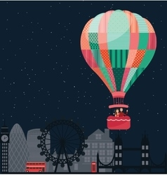 People kids flying in sky with hot balloon friends vector