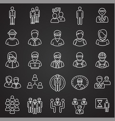 Person icons set on black background for graphic vector