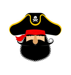 Pirate portrait in hat eye patch and smoking pipe vector