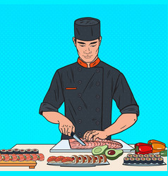 Pop art chef preparing sushi japanese restaurant vector