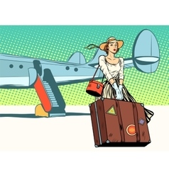 pretty girl tourist arrived vector image