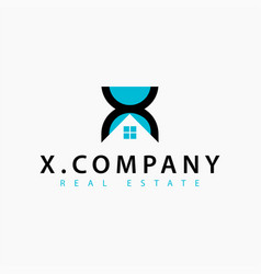 real estate initial letter x logo design template vector image