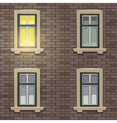 Retro building facade at night time vector