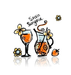 Sangria spanish drink Sketch for your design vector