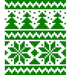 Seamless nordic pattern with stars and fir-trees vector image