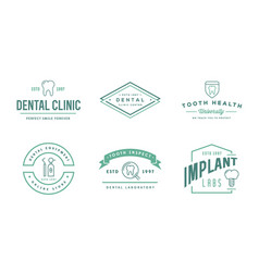 set dental signs template stomatology graphic vector image