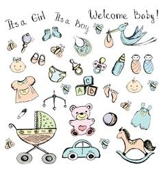 Set newborn baby items vector