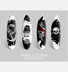 set of 5 surfboards the individual design vector image