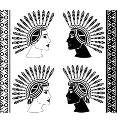Set of mayan woman profiles vector