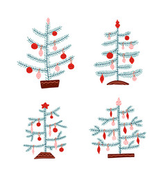 set scandinavian christmas trees nordic vector image