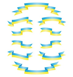 Set Ukrainian ribbons vector image