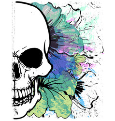 Skull watercolor t shirt graphic design vector