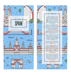 spain traveling flyers set in linear style vector image