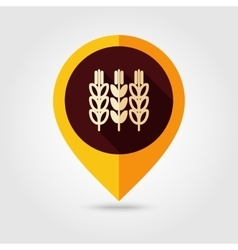 Spikelets of wheat flat mapping pin icon vector