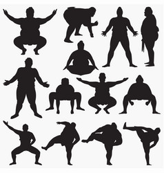 sumo silhouettes vector image