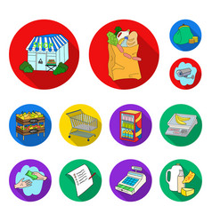 Supermarket and equipment flat icons in set vector