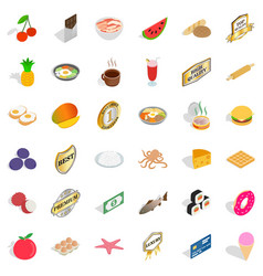 Sweet food icons set isometric style vector