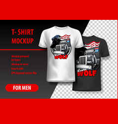 t-shirt template fully editable with truck vector image
