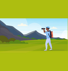 tourist hiker with backpack looking through vector image