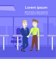two business men shaking hands over silhouette vector image