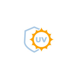 Uv protect icon with shield and sun vector