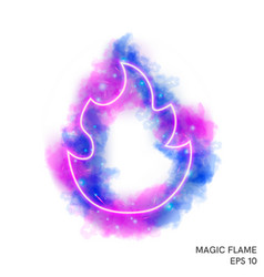 Watercolor magic fire torch with neon counter vector