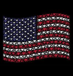 Waving american flag stylization of airplane vector