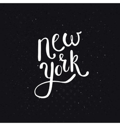 White New York Texts on Dotted Black Background vector image
