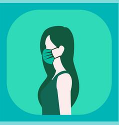 Woman wearing face mask because air pollution vector