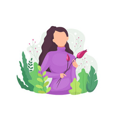 woman with floral decoration vector image