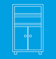 Wooden cabinet icon outline vector