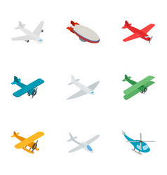 aviation icons isometric 3d style vector image vector image