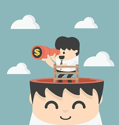 businessman holding binoculars Looking for money vector image vector image