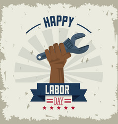 colorful poster of happy labor day with afro vector image vector image