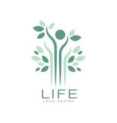 green life logo with leaves and abstract human vector image