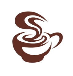 Hot cup of coffee with swirling steam vector image