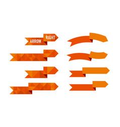 orange polygon arrow set vector image