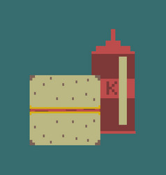 pixel icon in flat style burger and ketchup vector image