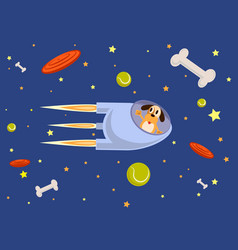 rocket and dog fly into space flat style vector image