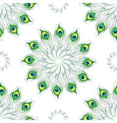 Seamless pattern of peacock feathers Mandala vector image